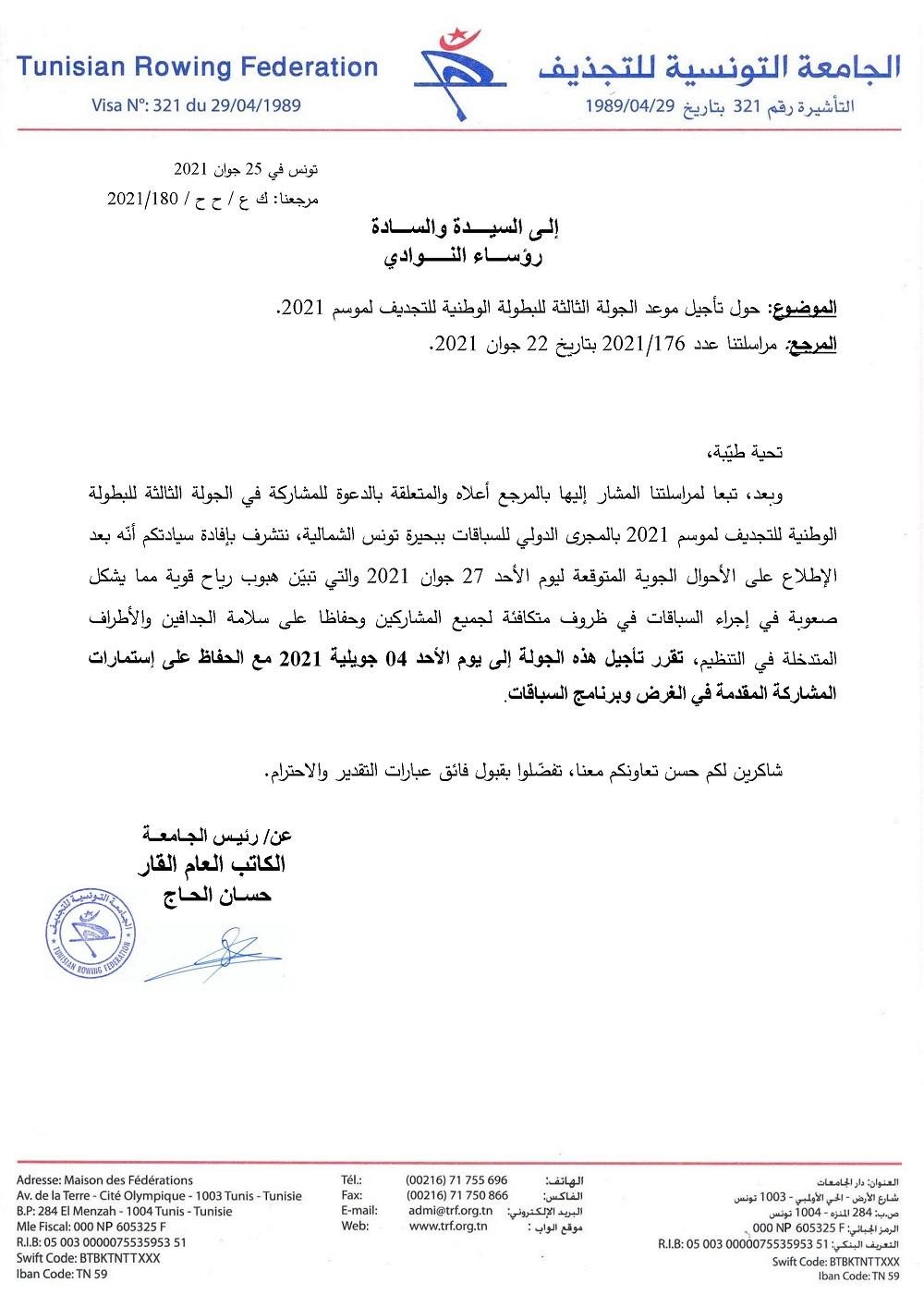 Championnat de Tunisie d'Aviron Classique 2021 – Journée 3 reportée