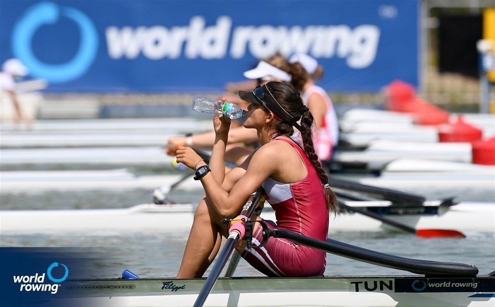 Hela Belhaje Mohamed, Women's Single Sculls, Tunisia, 2021 World Rowing Junior Championships, Plovdiv, Bulgaria / Detlev Seyb/MyRowingPhoto.com