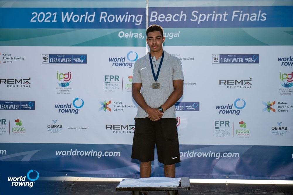 Bilel Frigui, Junior Men's Solo, Tunisia 2021 World Rowing Beach Sprint Finals, Oeiras, Portugal / World Rowing/Benedict Tufnell